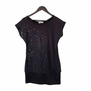Ricki's  Black Sequin Starburst Cap Sleeve T-shirt